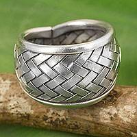 Silver band ring, 'Weaving Fantasies' - Modern Silver Band Ring with Woven Textures Crafted by Hand