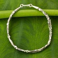 Silver link bracelet, 'Double Twist' - Artisan Crafted Bracelet with Hill Tribe Silver