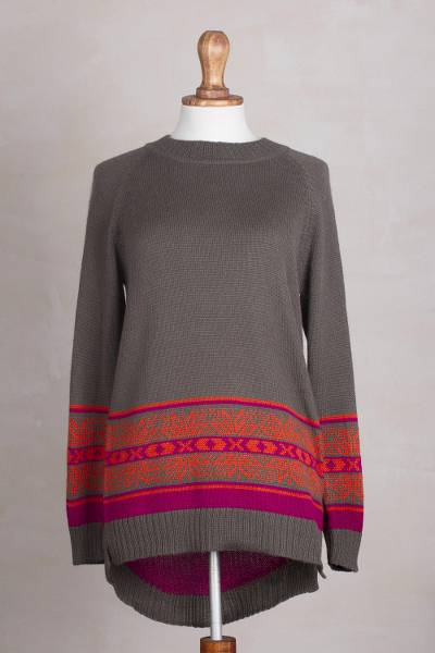 Alpaca blend high-low pullover sweater, 'Gunmetal Grey Dream' - Artisan Crafted Alpaca Blend High-Low Sweater from Peru