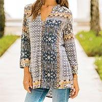 Rayon tunic, 'Haveli Arabesque' - Three-Quarter Sleeve Rayon Blend Travel Shirt