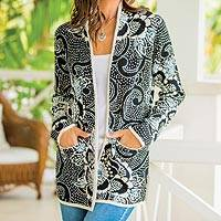 Pima cotton cardigan, 'Spring Festival' - Pima Cotton Cardigan Sweater in Black and Ivory