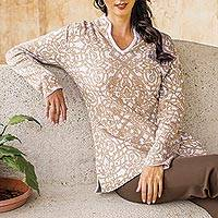 Pima cotton tunic sweater, 'Peruvian Baroque' - Peruvian Pima Cotton Baroque Tunic for Women