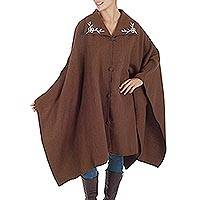 Alpaca blend cape, 'Chestnut Diva' - Warm Alpaca Blend Chestnut Brown Cape with Crochet Flowers