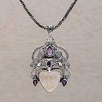 Amethyst pendant necklace, 'Bedugul Prince' (Indonesia)