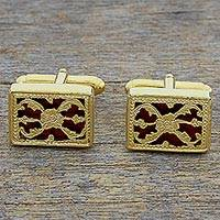Gold plated cufflinks, 'Red Glory' - Hand Made Red Gold Sterling Silver Cufflinks from India