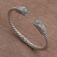 Gold accent sterling silver cuff bracelet, 'Janur Temple' - Gold Accent Woven Motif 925 Silver Cuff Bracelet from Bali