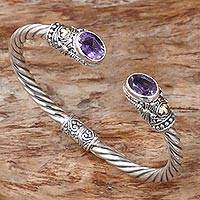 Gold accented amethyst cuff bracelet, 'Dragonfly Den in Purple' - Hand Made Gold Accent Amethyst Cuff Bracelet Indonesia