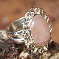 Rose quartz cocktail ring, 'Pink Blossom' - Rose Quartz and Sterling Silver Cocktail Ring from Peru