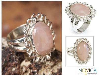 Rose Quartz and Sterling Silver Cocktail Ring from Peru