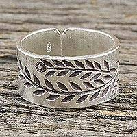 Sterling silver wrap ring, 'Silver Garden' - Sterling Silver Wrap Ring with Leaf Motif