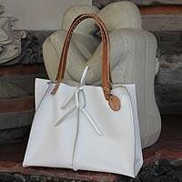 Leather tote bag, 'White Sophistication' - Handcrafted Leather Tote Shoulder Bag