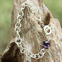 Amethyst chain bracelet, 'Magic Moon' - Sterling Silver Chain and Amethyst Pendant Bracelet