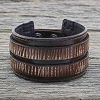 Men's leather wristband bracelet, 'Genuine Charm in Dark Brown' - Men's Leather Wristband Bracelet in Dark Brown from Thailand