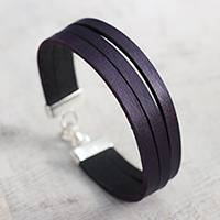 Leather wristband bracelet, 'Purple Company' (Peru)