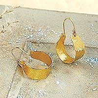 Gold plated copper hoop earrings, 'Etruscan Ribbon' - Etruscan Ribbon 24k Gold Plated Hoop Earrings
