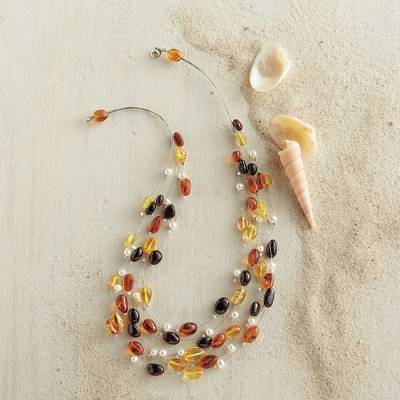 Amber and cultured pearl necklace, 'Palanga Treasure' - Palanga Amber and Cultured Pearl Necklace