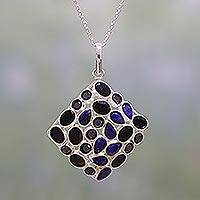 Onyx and lapis lazuli pendant necklace,