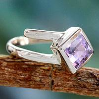 Amethyst solitaire ring, 'Lilac Spin' - Hand Crafted Sterling Silver Single Stone Amethyst Ring