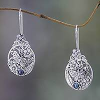 Cultured peacock pearl drop earrings, 'Frangipani Butterfly' - Unique Sterling Silver and Pearl Drop Earrings