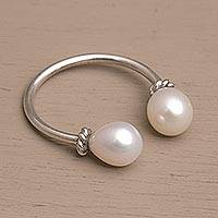 Cultured pearl wrap ring, 'Moonlight's End' - Cultured Pearl and Sterling Silver Wrap Ring