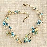 Venetian glass necklace, 'Vetro a Lume' - Vetro a Lume Venetian Glass Necklace in Blue and Gold