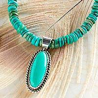 Turquoise beaded pendant necklace, 'Tranquil Mesa' - Navajo Turquoise Beaded Pendant Necklace