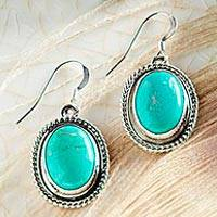 Turquoise dangle earrings, 'Tranquil Mesa' - Navajo Turquoise and Sterling Silver Dangle Earrings