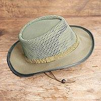 Men's cotton canvas mesh hat, 'African Ranger' - Men's Ventilated African Mesh Ranger Hat in Sand