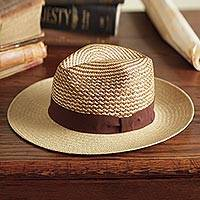 Men's straw hat, 'Equator' - Men's Ecuadorian Straw Panama Hat with Ribbon Trim