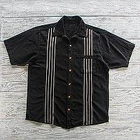 Men's cotton short-sleeved shirt, 'Racing Stripes' - Peruvian Black and White Striped Guayabera Shirt