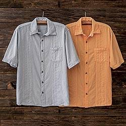 Men's cotton shirt, 'Calypso' - Men's All-Cotton Peruvian Calypso Shirt