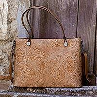 Leather tote shoulder bag, 'San Gimignano' - Tuscany Tooled Leather Floral Tote Shoulder Bag