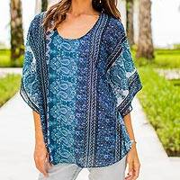 Rayon scarf top, 'Blue City' - Blue Print Rayon Indian Paisley Scarf Top