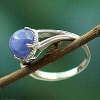 Tanzanite cocktail ring, 'Indian Sky' - Sterling Silver Single Stone Ring with Tanzanite from India