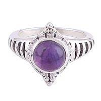 Amethyst cocktail ring, 'Lakshmi's Treasure' - Amethyst Cabochon Ring with Sterling Silver Setting