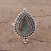 Labradorite cocktail ring, 'Drops of Love' - Handmade 925 Sterling Silver Labradorite Cocktail Ring India