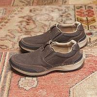 Men's leather slip-on travel shoes, 'Overland Explorer' - Men's Brown Leather Slip-On Travel Shoes