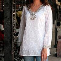 Beaded cotton blouse, 'Dazzling White' - Fair Trade Cotton Embroidered Tunic Top
