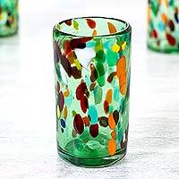 Blown glass tumblers, 'Bold Lime Fiesta' (set of 6) - Hand Crafted Blown Glass Tumblers (set of 6)