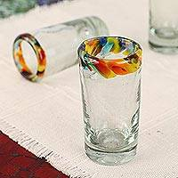 Blown glass tequila shot glasses, 'Confetti' (set of 6) - Handcrafted Blown Glass Tequila Shot Glasses (Set of 6)
