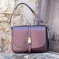 Tuscany Metallic Leather Bag, 'Chianti' - Tuscany Metallic Leather Handbag