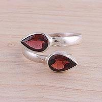 Garnet wrap ring, 'Radiant Drops' - Polished Sterling Silver and Garnet Wrap Ring