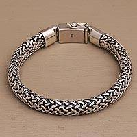 Men's sterling silver chain bracelet, 'Endless Horizon' - Men's Handcrafted Chain Sterling Silver Wristband Bracelet