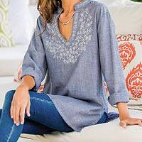 Embroidered cotton blend tunic, 'Chambray Wildflower'  - Indian Embroidered Beaded Tunic in Blue-Grey Chambray