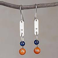 Agate dangle earrings, 'Blue Moon Orbit' - Colorful Agate and Sterling Silver Earrings from Peru