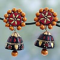 Ceramic dangle earrings, 'Palace Nights' - Colorful Ceramic Dangle Style Earrings with Silver Posts