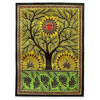 Madhubani painting, 'Tree of Life' - Indian Madhubani Painting