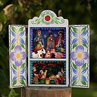Retablo, 'Blue Christmas' - Christmas Nativity Retablo Folk Art Handmade in Peru