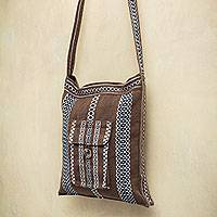 Alpaca blend shoulder bag, 'Earth Song' - Brown Handwoven Alpaca Blend Peruvian Shoulder Bag