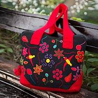 Wool laptop bag, 'Amazonia' - Unique Floral Wool Embroidered Laptop Bag (13 Inch)